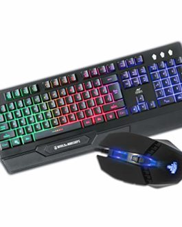 Ant Esports KM500W Gaming Backlit Keyboard and Mouse Combo, LED Wired Gaming Keyboard, Ergonomic & Wrist Rest Keyboard, Programmable Gaming Mouse for PC/Laptop/Mac- World of Warships Edition – Black