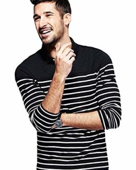 FASHIONZAADI Men,s Full Sleeves Cotton Striped Polo t-Shirt |Regular Fit Cotton Striped Polo Tshirt for Men |Striped Polo T-Shirt for Men