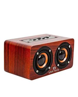 Live Tech Mini Jalsa TWS Wireless Wooden High Bass Speaker (Nut Brown)