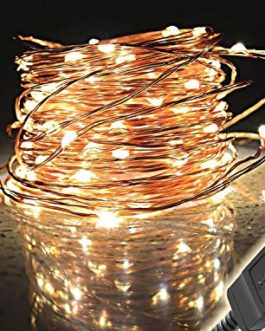 Pink Kites 100 LED Copper Wire Bright String Lights for Home Decoration (10 m, Warm White)