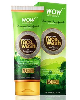 WOW Amazon Rainforest Collection – Mineral Face Wash with Crude Volcanic Clay – No Parabens, Sulphate, Silicones and Color, 100 ml