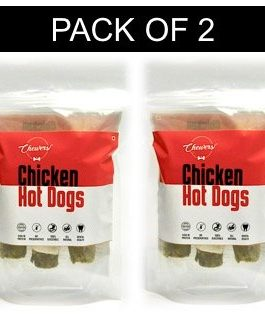 Chewers Chicken Hotdogs Stick Dog Treat, Chew Dog Stick, 6 Pieces (Pack of 2)