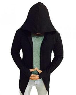 PAUSE Black Solid Cotton Hood Slim...