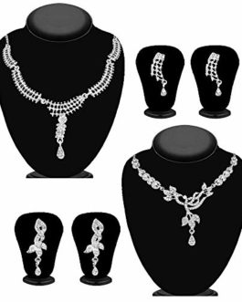 JewelMaze Silver Plated Necklace Sets with White Austrian Stones | Traditional Neck Piece Combo Set of 2 for Women, White