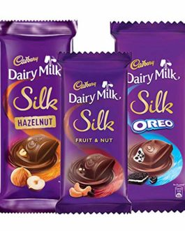 Cadbury Dairy Milk Silk Chocolates Combo (1 x Oreo 130g, 1 x Fruit and Nut 55g and 1 x Hazelnut 143g)