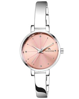 Swisstone JEWELS068-PNKSLV Silver Plated Bracelet Wrist Watch for Women