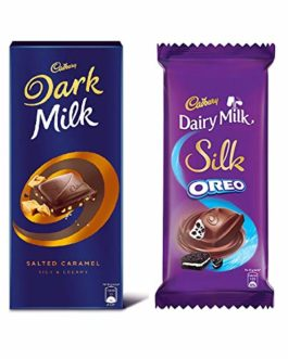 Cadbury Large Chocolate Combo(Dark Milk Salted Caramel 156g + Silk Oreo 130g), 286 g