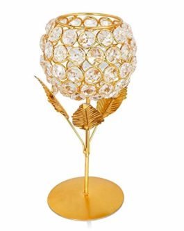Collectible India Crystal Golden Rose Candle...
