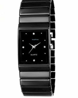 shopPrime Square Model Analogue Black Dial and Stainless Steel Chain Strap Men's