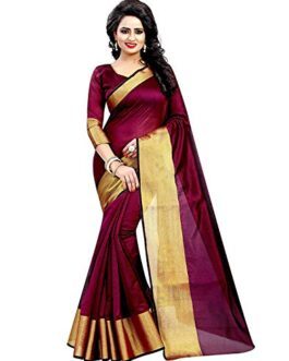 BuyOnn Cotton Silk Saree(Maroon_Free Size)