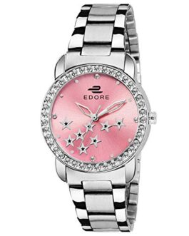 Edore Elegant Star Studded Diamond Dial Stainless Steel Band Water Resistant Watch for Women/Girls