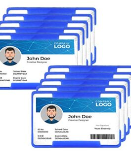 SEPAL 10 Pack of Hard PVC Plastic Badge ID Card Holder for Men and Women & for Office and School – Blue