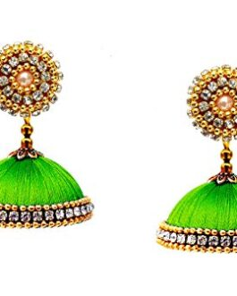 Youth Royal Blue Silk Thread Jhumki Earrings for Women