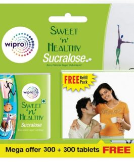 Sweet n Healthy Zero Calorie Sugar Substitute Sucralose Tablets by Wipro, 300 Tablets + 300 Tablets Free