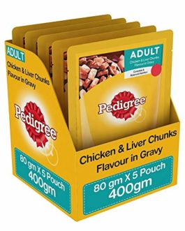 Pedigree Adult Wet Dog Food, Chicken & Liver Chunks in Gravy, 5 Pouches (5 x 80g)