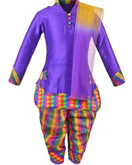 Aarika Girl's Self Design Cotton Silk...